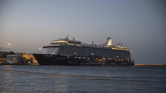 The Mein Schiff 6 cruise ship docked at Piraeus