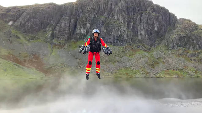 The jet pack suit was trialled in the Lake District