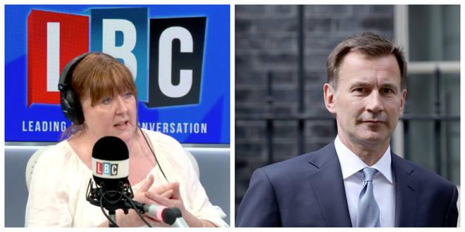 Jeremy Hunt spoke to LBC's Shelagh Fogarty