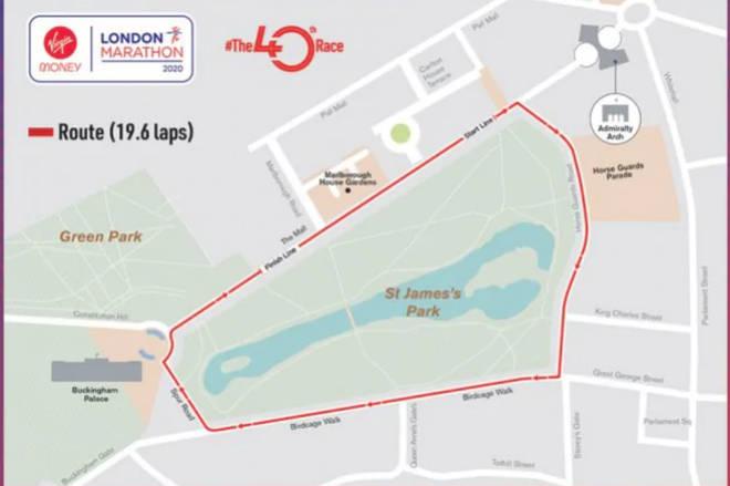 This year's elite London marathon route