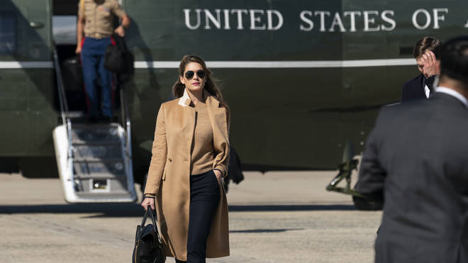 Hope Hicks, pictured getting off Marine One on Wednesday