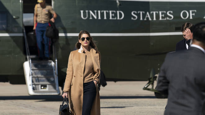 Hope Hicks, seen getting off Marine One on Wednesday, before falling ill
