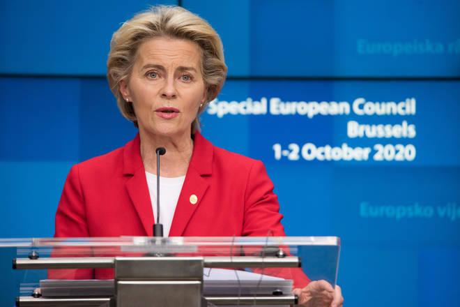 European Commission President Ursula von der Leyen attends an online press conference