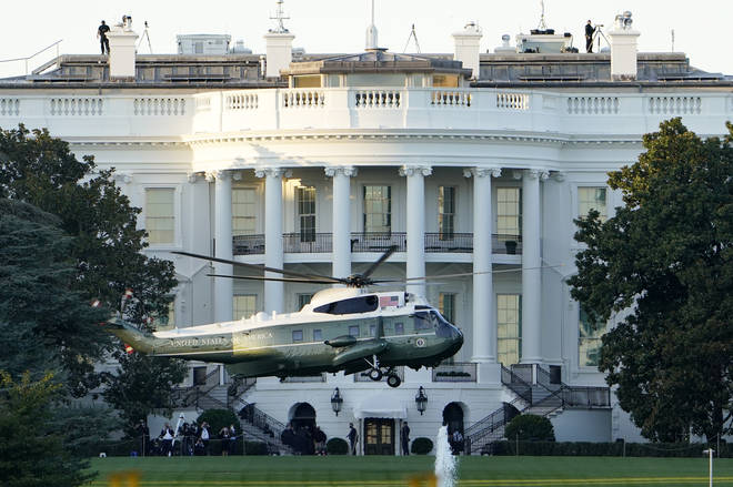 Marine One departs the White House with Donald Trump on board