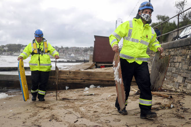 Coastguard teams picked up the pieces after Storm Alex moved in