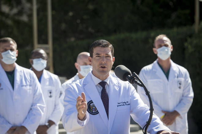 Dr Sean Conley updated reporters on President Trump's condition on Saturday morning