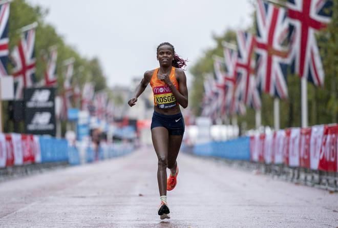 Brigid Kosgei of Kenya defended her title
