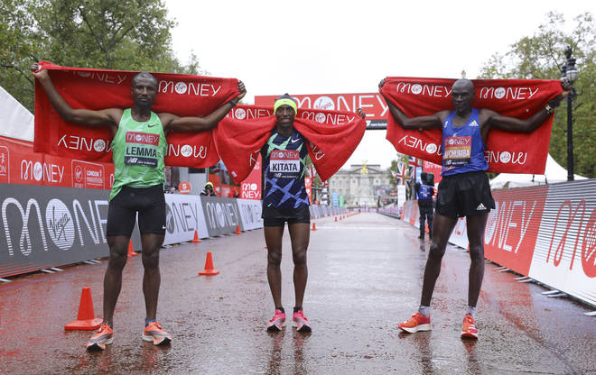 The men's finishers (L to R): Sisay Lemma (3rd), Shura Kitata (1st), Vincent Kipchumba (2nd)