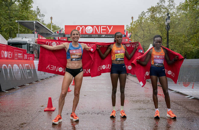 The women's finishers (L to R): Sara Hall, Brigid Kosgei and Ruth Chepngetich