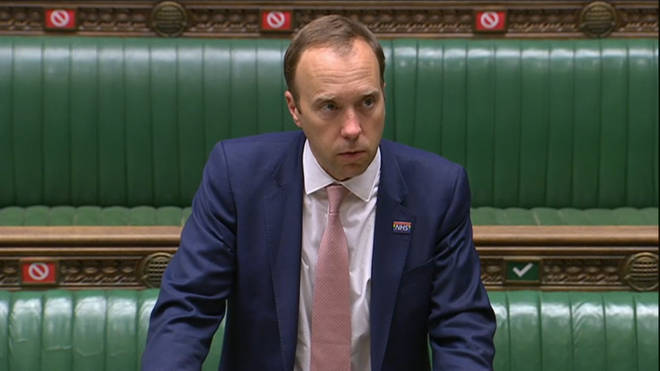 Health Secretary Matt Hancock was giving a statement to the Commons on Monday afternoon