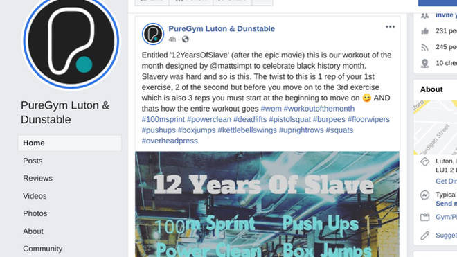 Puregym Luton advertised a '12 years of slave' workout for Black History Month