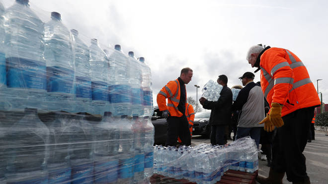 Bottled water was being distributed in the area (file image)