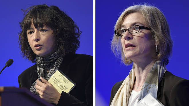 Emmanuelle Charpentier, left, and Jennifer Doudna right