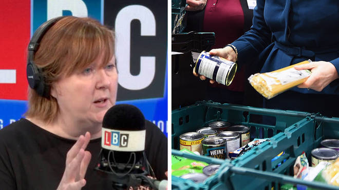 """A caller told LBC he was not happy at the """"nutritional value"""" of food parcels provided by the Government."""