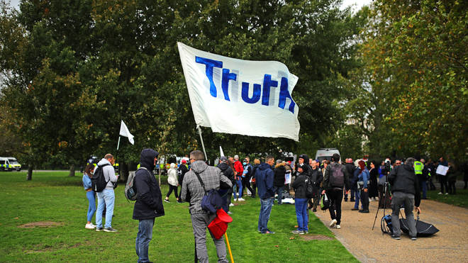 Some of those taking part in the march in London held banners that simply read 'Truth'