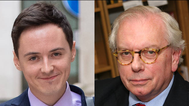 Police are investigating Darren Grimes' (L) interview with David Starkey (R)
