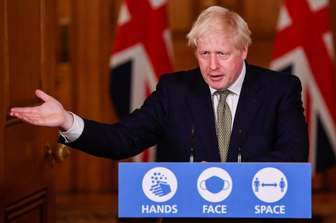 Prime Minister Boris Johnson speaks during Monday's press briefing