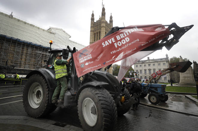 A tractor demonstration took place in London ahead of the debate in Westminster