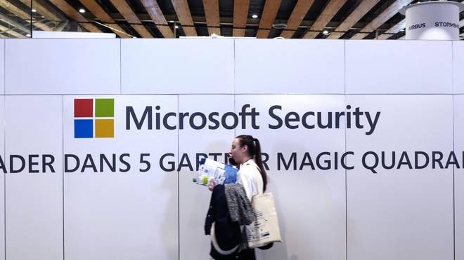 A Microsoft sign