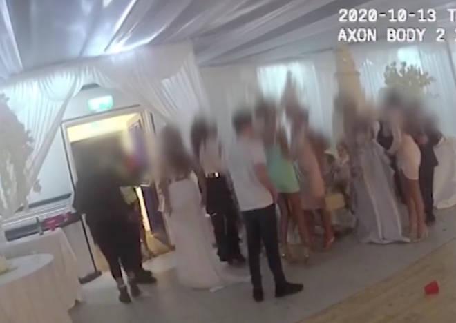Metropolitan Police officers crashed a wedding reception