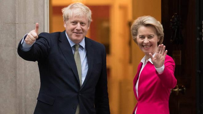 Boris Johnson and Ursula von der Leyen pictured in January