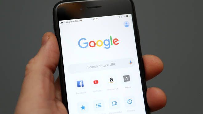 The Google Search homepage on a smartphone
