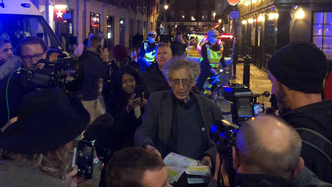 Piers Corbyn was spotted on the streets of Soho on Friday evening