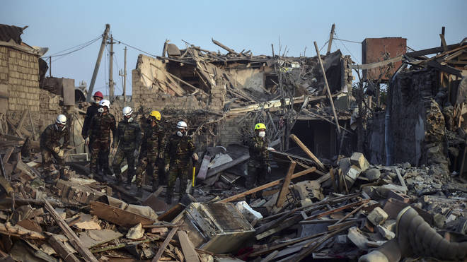 Wreckage in Ganja