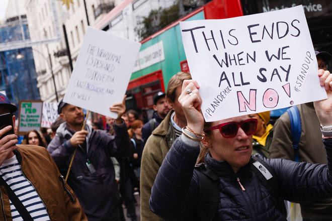 Protesters march through London against Tier 2 restrictions