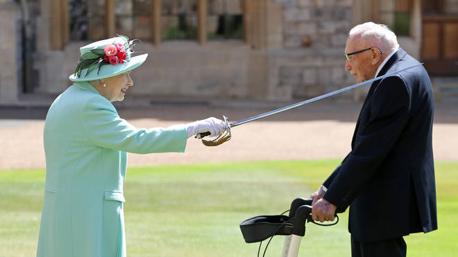 He was knighted by the Queen after raising millions for the NHS