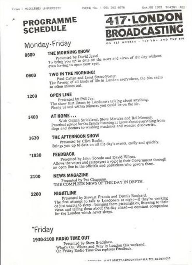The first day's schedule on LBC