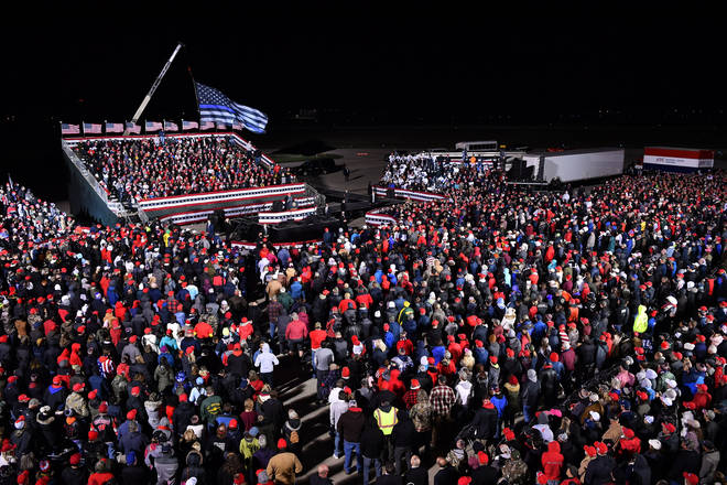President Trump spoke in front of a packed crowd in Wisconsin.