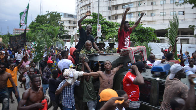 A peaceful demonstration against police brutality in Ikeja in Nigeria