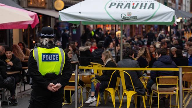 Police on patrol in Soho in London