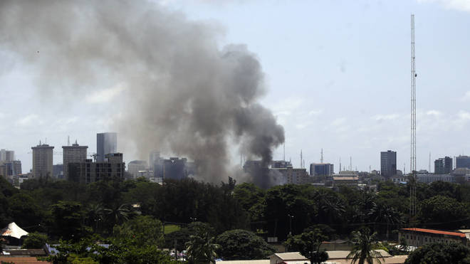 Smoke rises from the Ikoyi Correctional Centre in Lagos