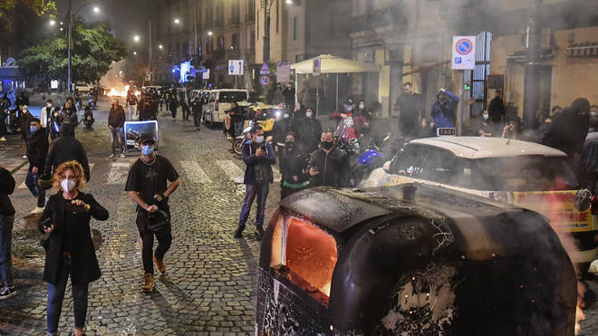 Protests erupted in Naples