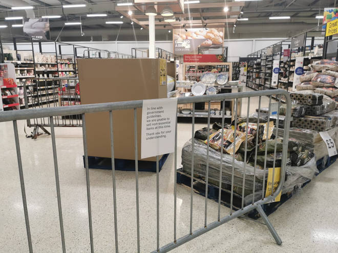 """Some aisles in Welsh supermarkets have been shut as they are deemed """"non-essential"""""""