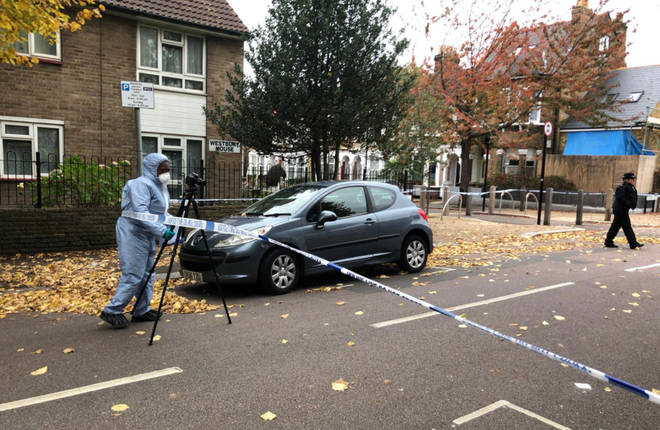 A police cordon is in place