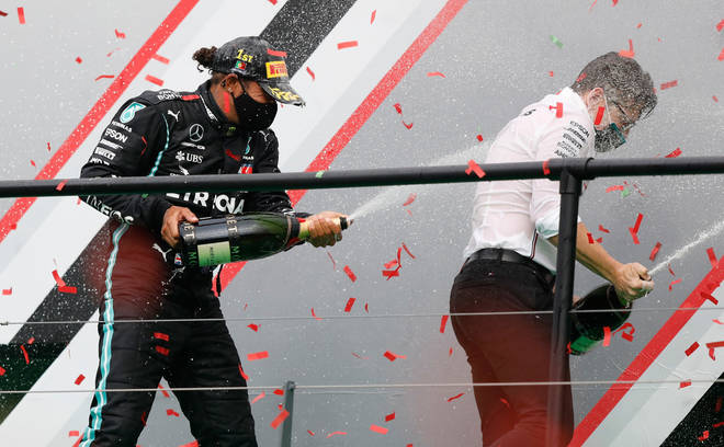 Lewis Hamilton took first place during the Portuguese Grand Prix on Sunday