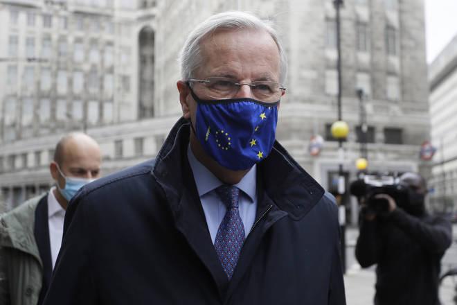 EU Chief negotiator Michel Barnier walks to a meeting in London on Friday