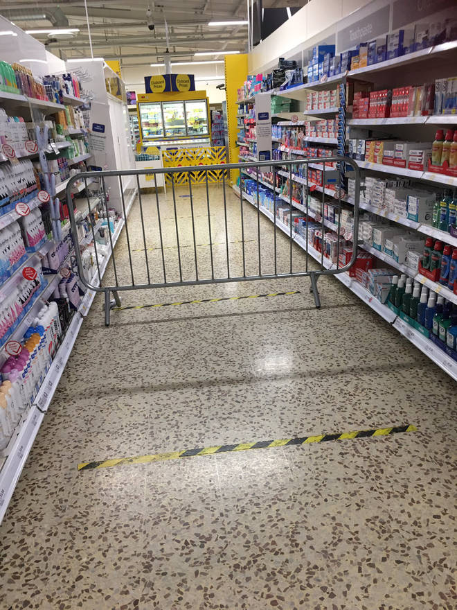 Tesco in St Mellons near Cardiff blocked off one of the toiletries aisles