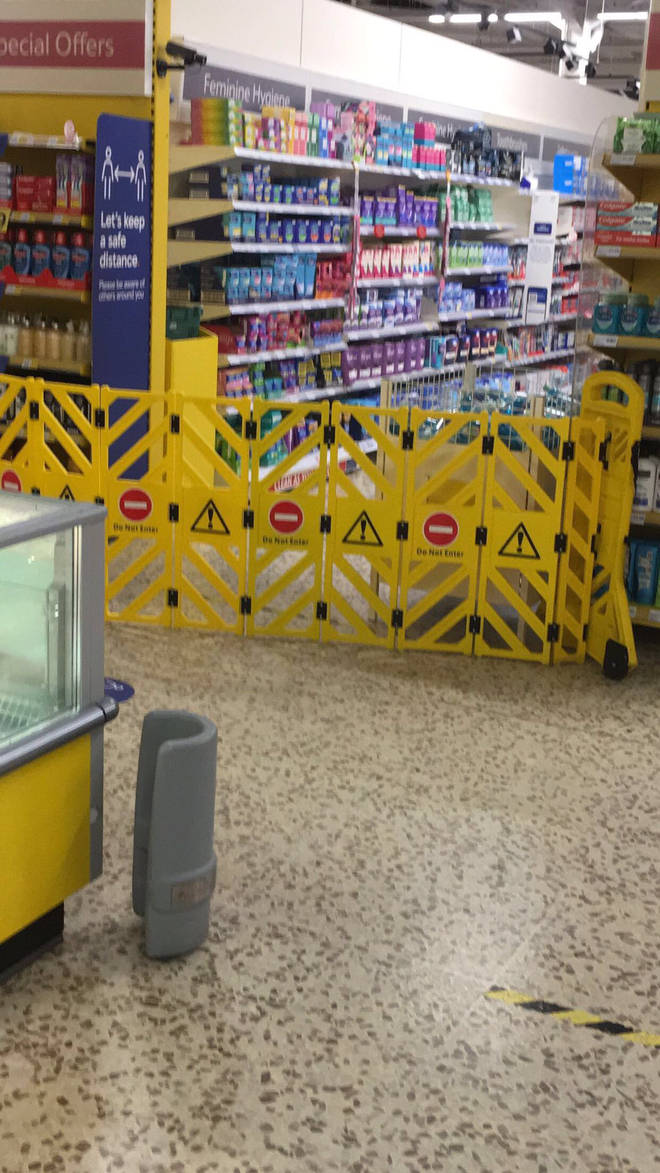 The aisle was covered with no entry signs