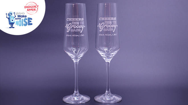 Buy a pair of limited edition 'Cheers from the Groovy Gang' Prosecco glasses