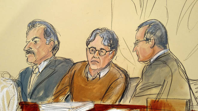 Courtroom drawing of defendant Keith Raniere, centre