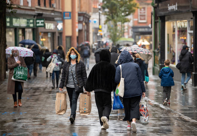 Shoppers in Nottingham ahead of the region being moved into Tier 3 coronavirus restrictions on Thursday