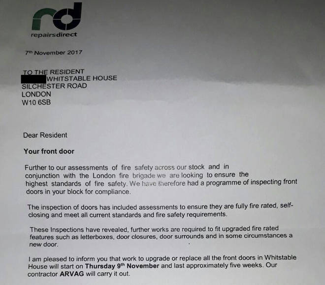 The letter showing the council are replacing doors in the tower next to Grenfell