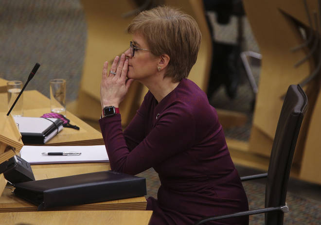 Nicola Sturgeon speaking at the Scottish Parliament on 27 October.