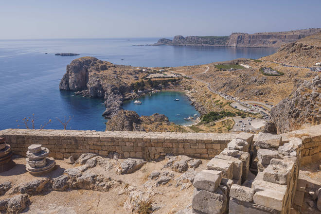 File photo: View of the St Paul's Bay from the Acropolis of Lindos, Rhodes