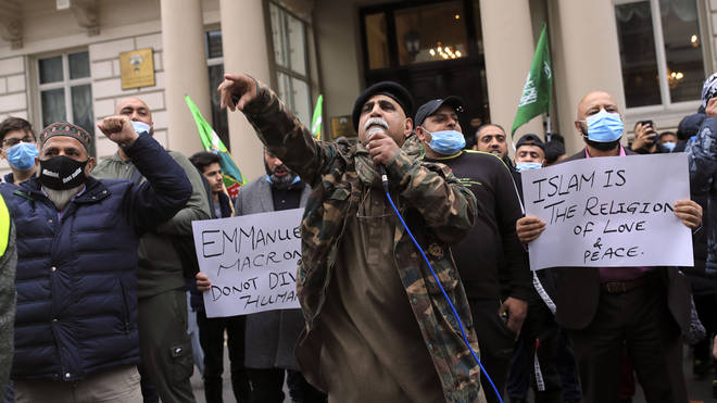 Islamic protesters have gathered outside the French embassy in London