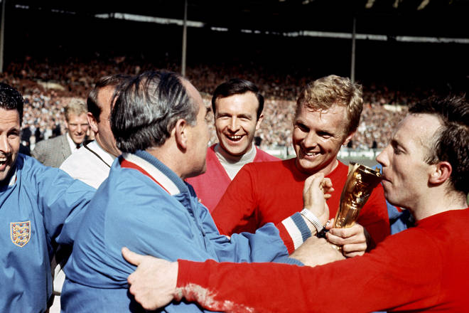 Stiles (far right) kissing the Jules Rimet trophy after winning the World Cup with England
